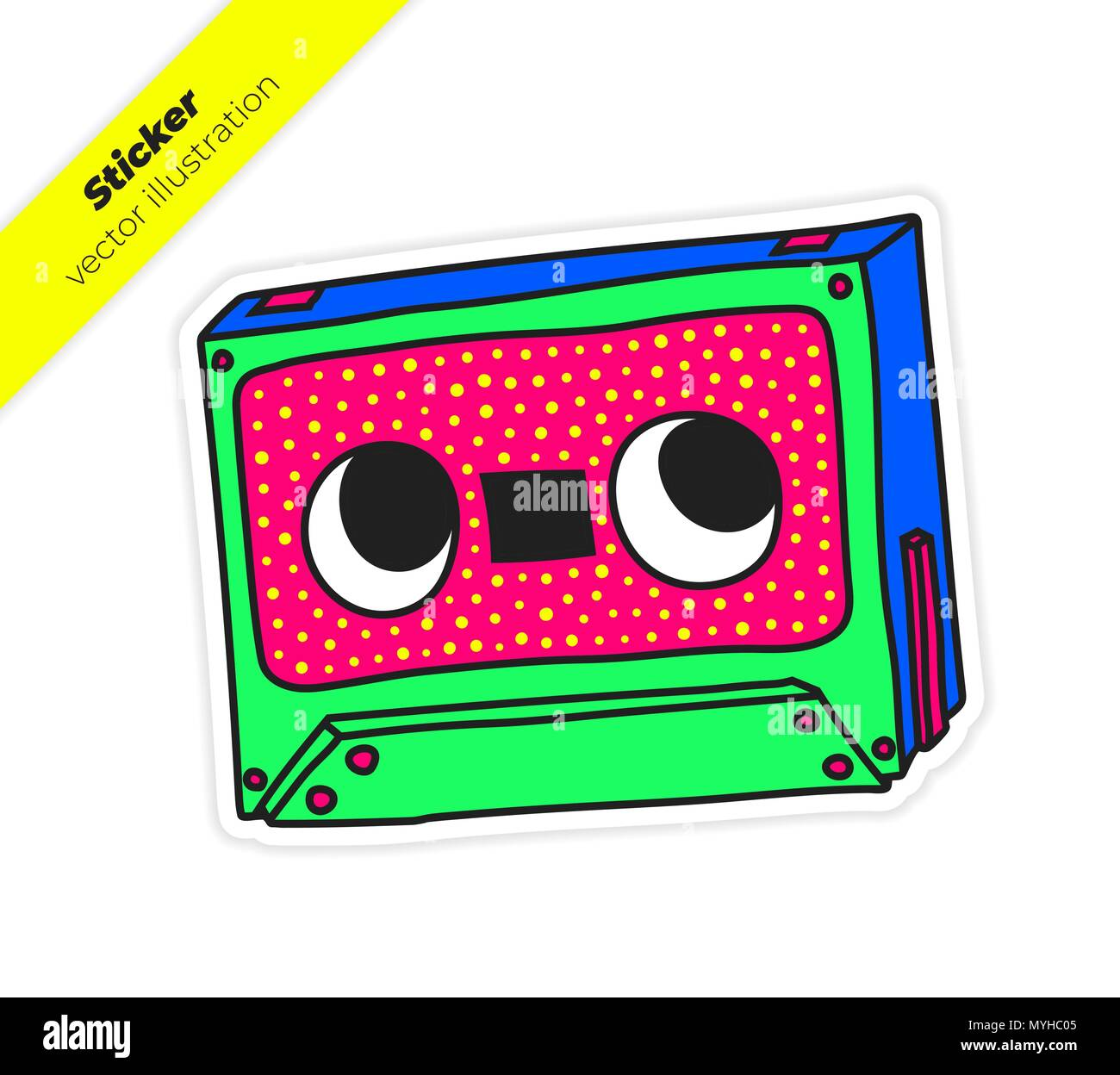 Compact Audio Cassette Musicassette music tape sticker vector il - Stock Image