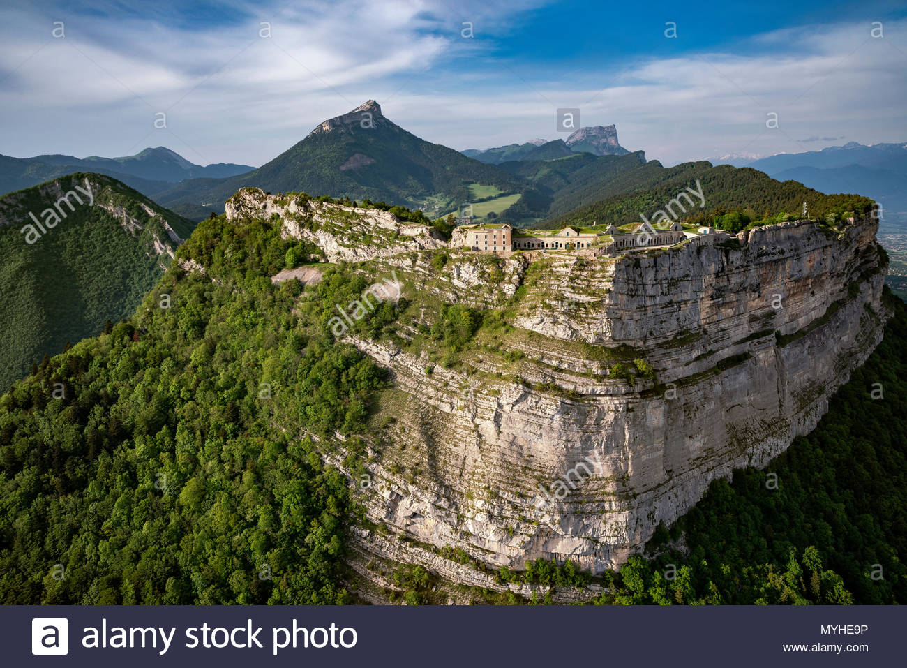 Aerial view of Saint Eynard fortifications and Chartreuse mountain range near Grenoble (France) - Stock Image