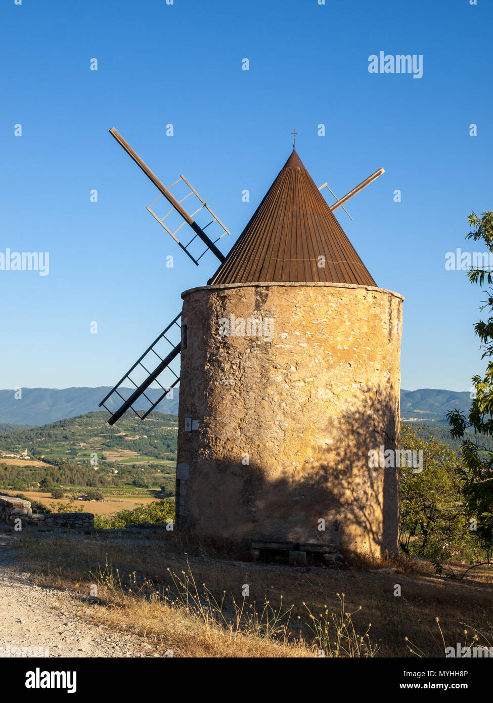 Old windmill in Saint-Saturnin-les-Apt Muehle in Provence, France - Stock Image