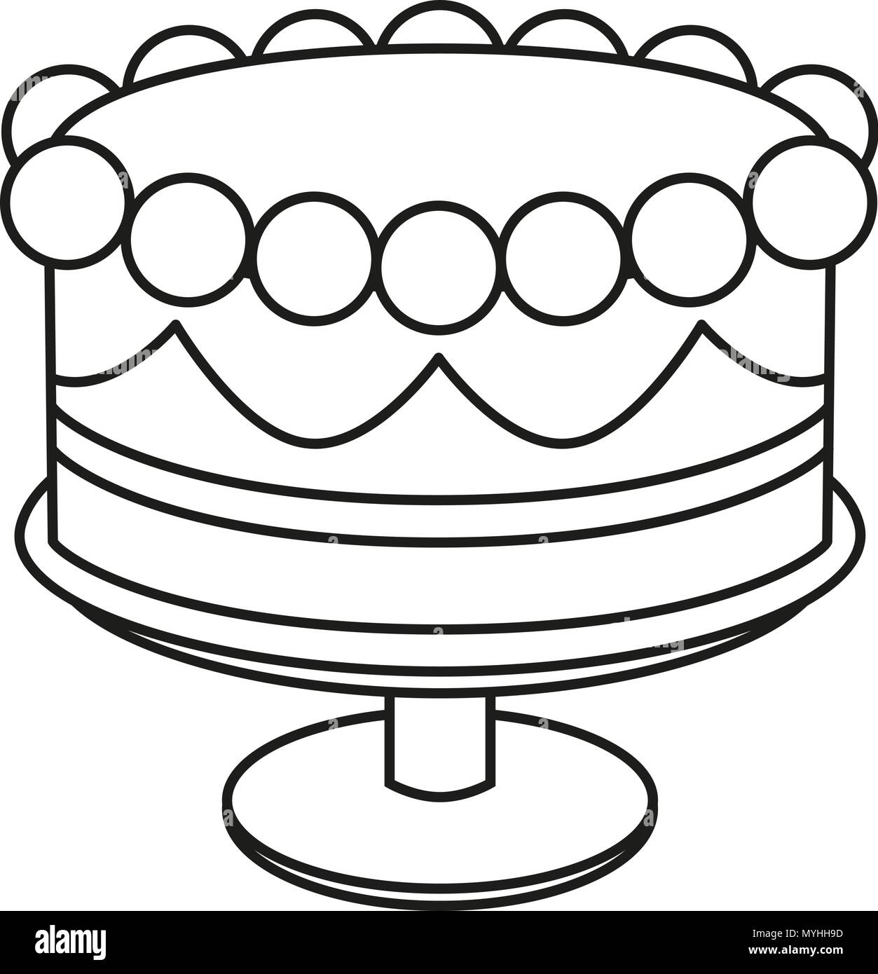 Line Art Black And White Birthday Cake On Stand Stock Vector Art