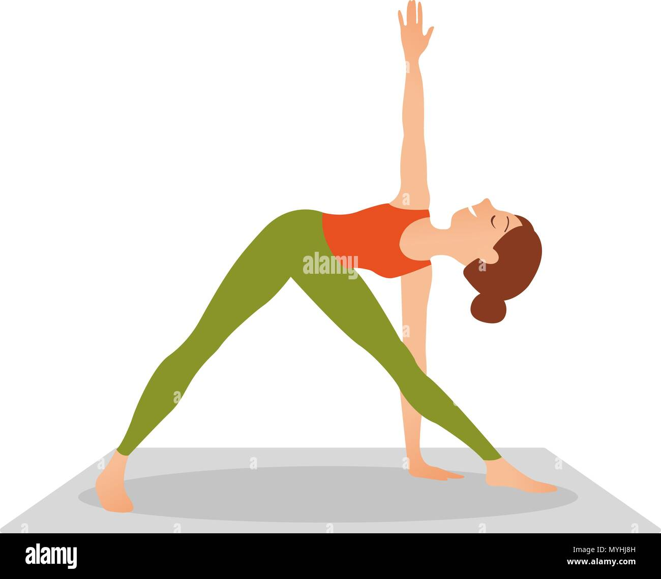 Young attractive woman practicing yoga, standing in Revolved Triangle exercise, Parivrrta Trikonasana pose, working out wearing sportswear, indoor ful - Stock Vector