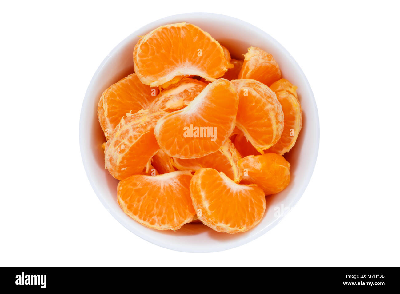 Mandarin oranges fruits from above bowl isolated on a white background - Stock Image
