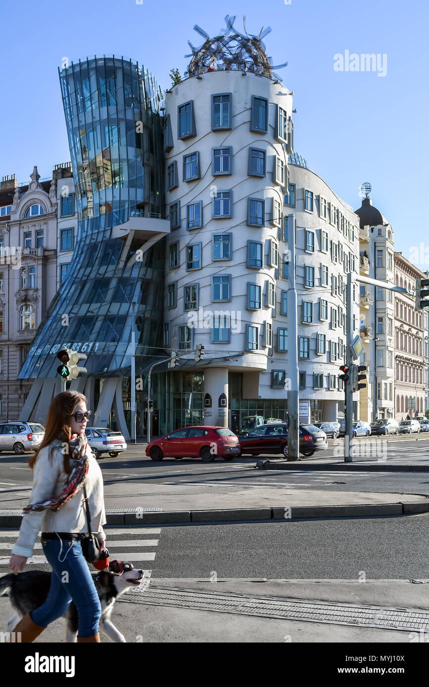 Prague, Czech Republic - January 13, 2015: Young lady with a dog passing by famous Dancing House in Prague, Czech Republic - Stock Image