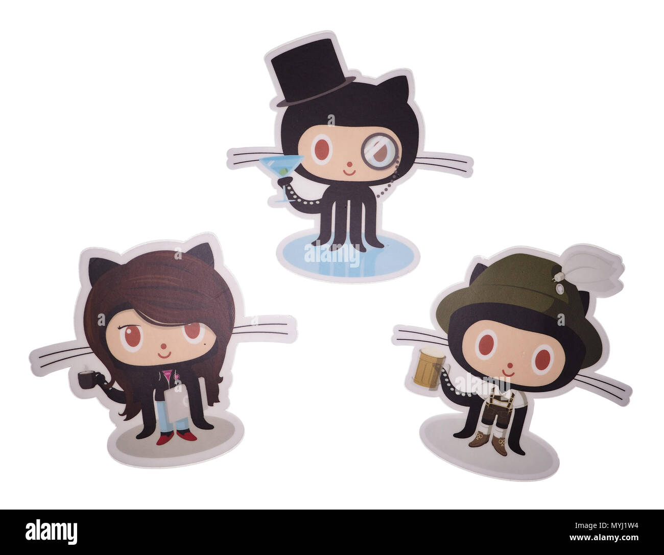 Photo of souvenir stickers with GitHub's company mascots