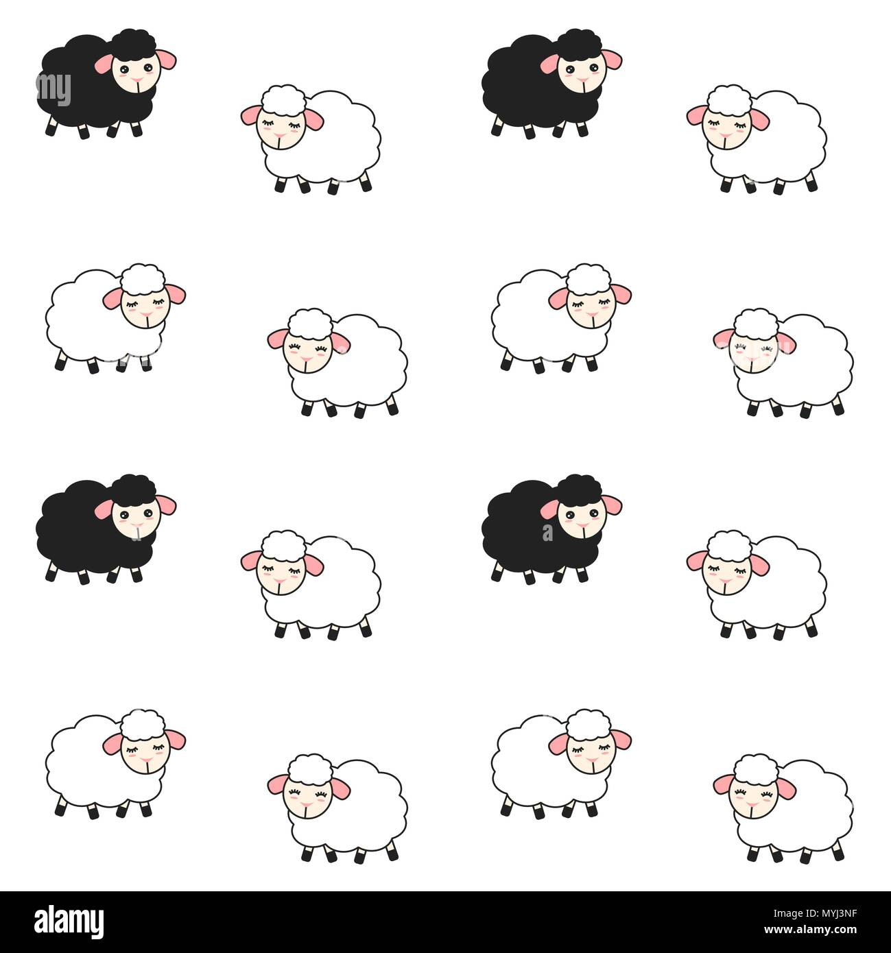cute cartoon white and black sheeps seamless vector pattern background illustration - Stock Image