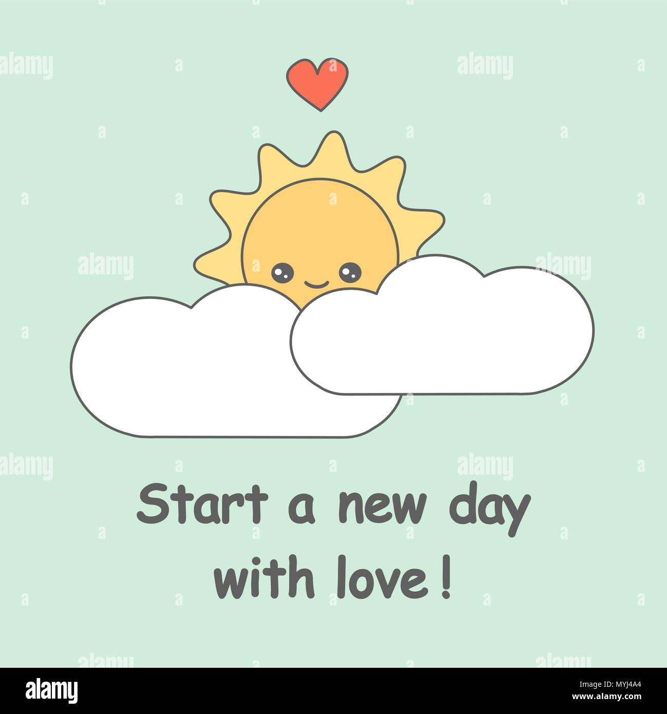Start A New Day With Love Quote Vector Illustration With Cute