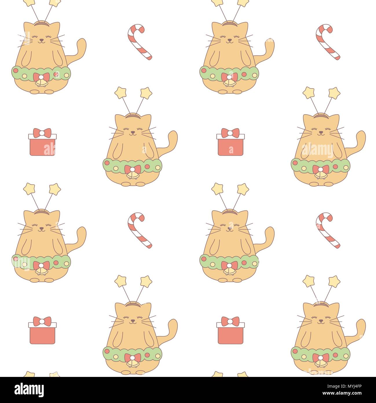 cute lovely christmas vector pattern background illustration with cat gift box and candy cane MYJ4FP