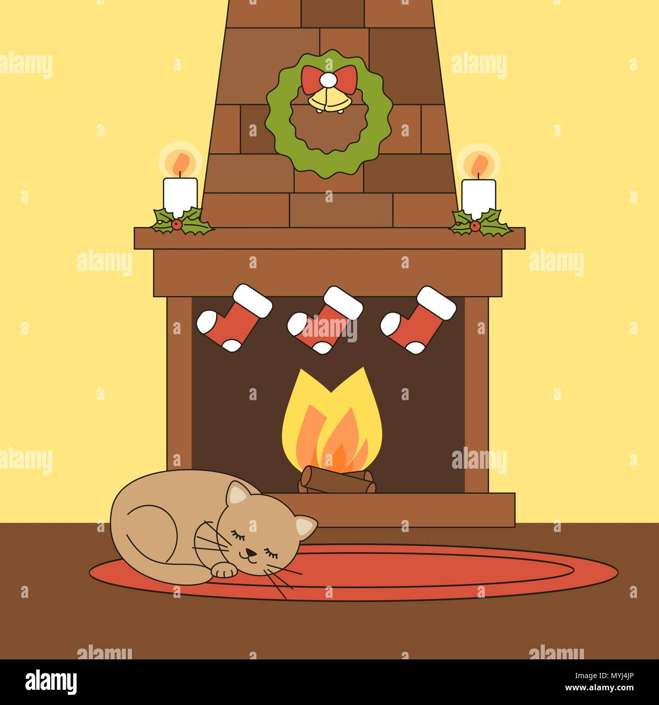 cute cartoon vector christmas fireplace with cat lying