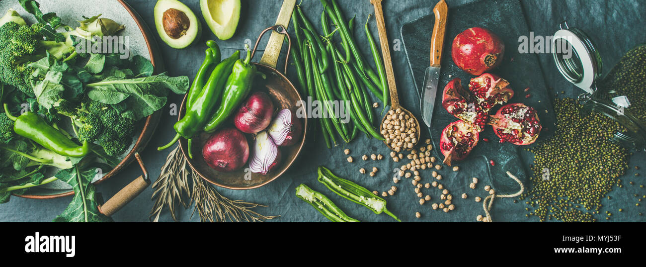 Winter vegetarian or vegan food cooking ingredients, wide composition - Stock Image