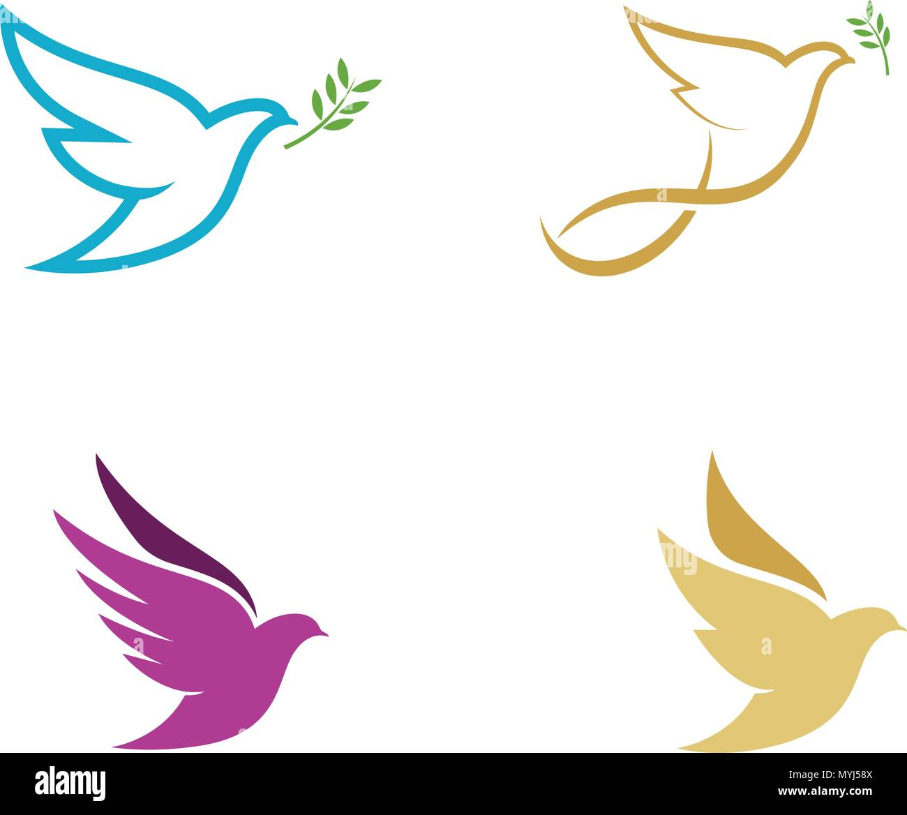 bird wing dove logo template vector illustration stock vector art