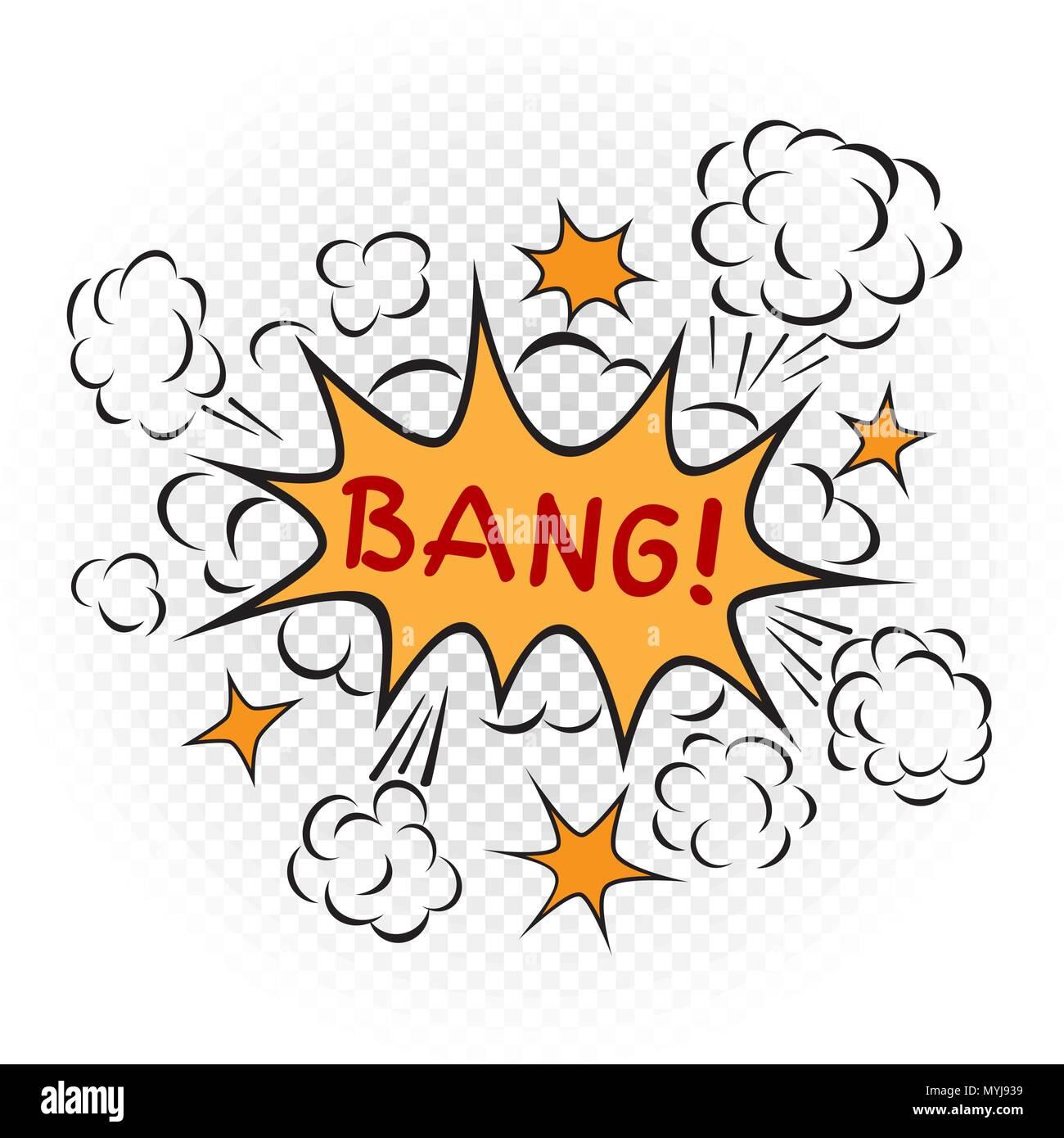 cartoon explosion illustration transparent - Stock Image