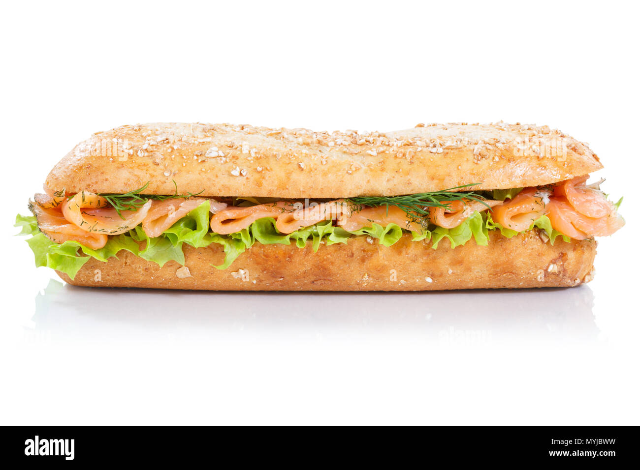 Sub sandwich whole grains baguette with smoked salmon fish lateral isolated on a white background - Stock Image