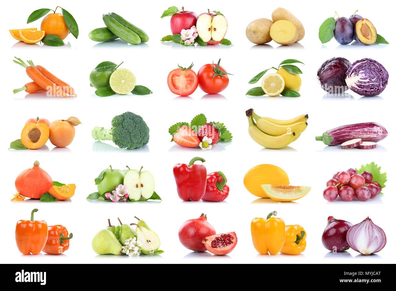 Fruit many fruits and vegetables collection isolated apple oranges onion tomatoes colors on a white background - Stock Image