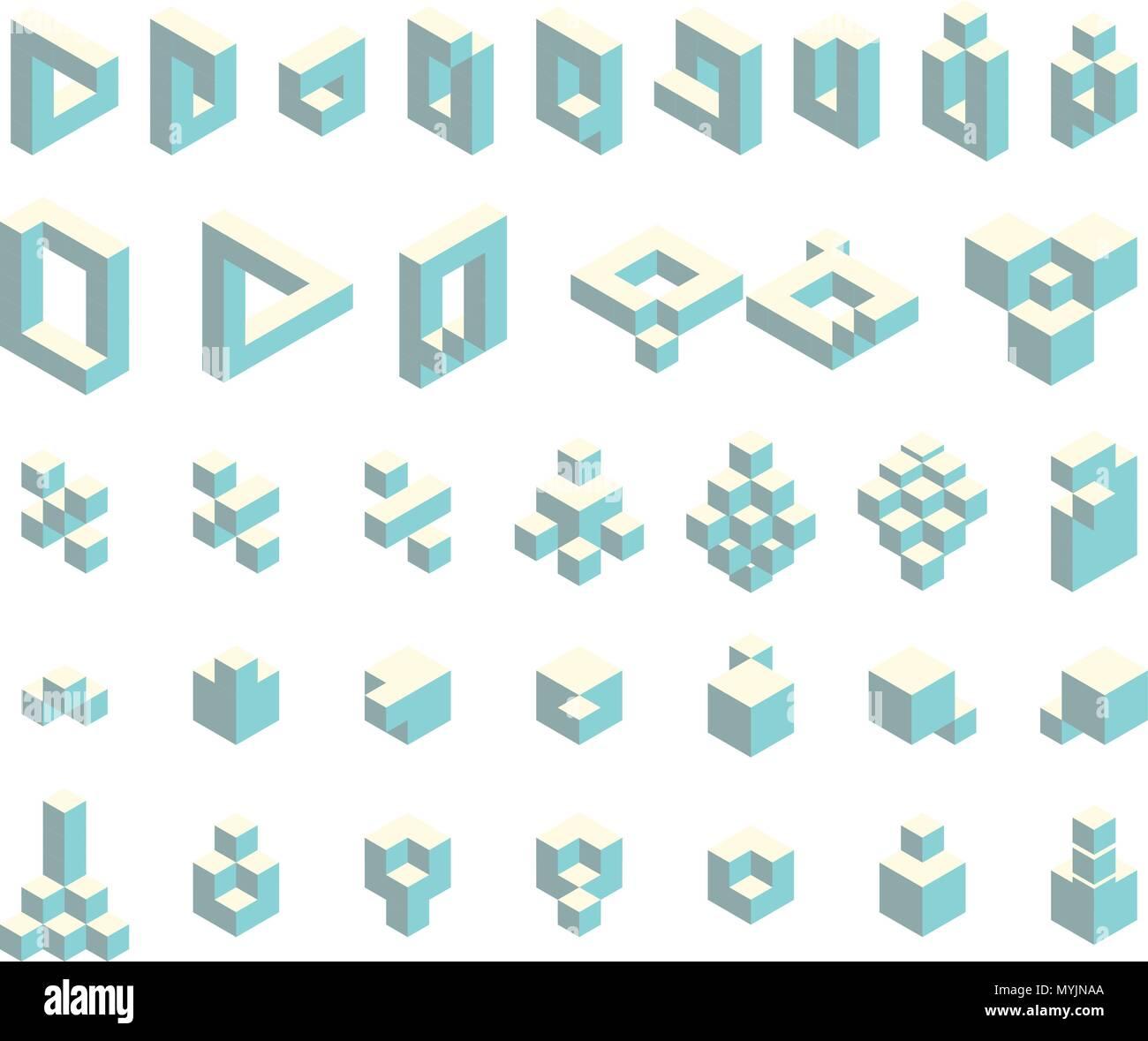 Isometric cubes set - Stock Image