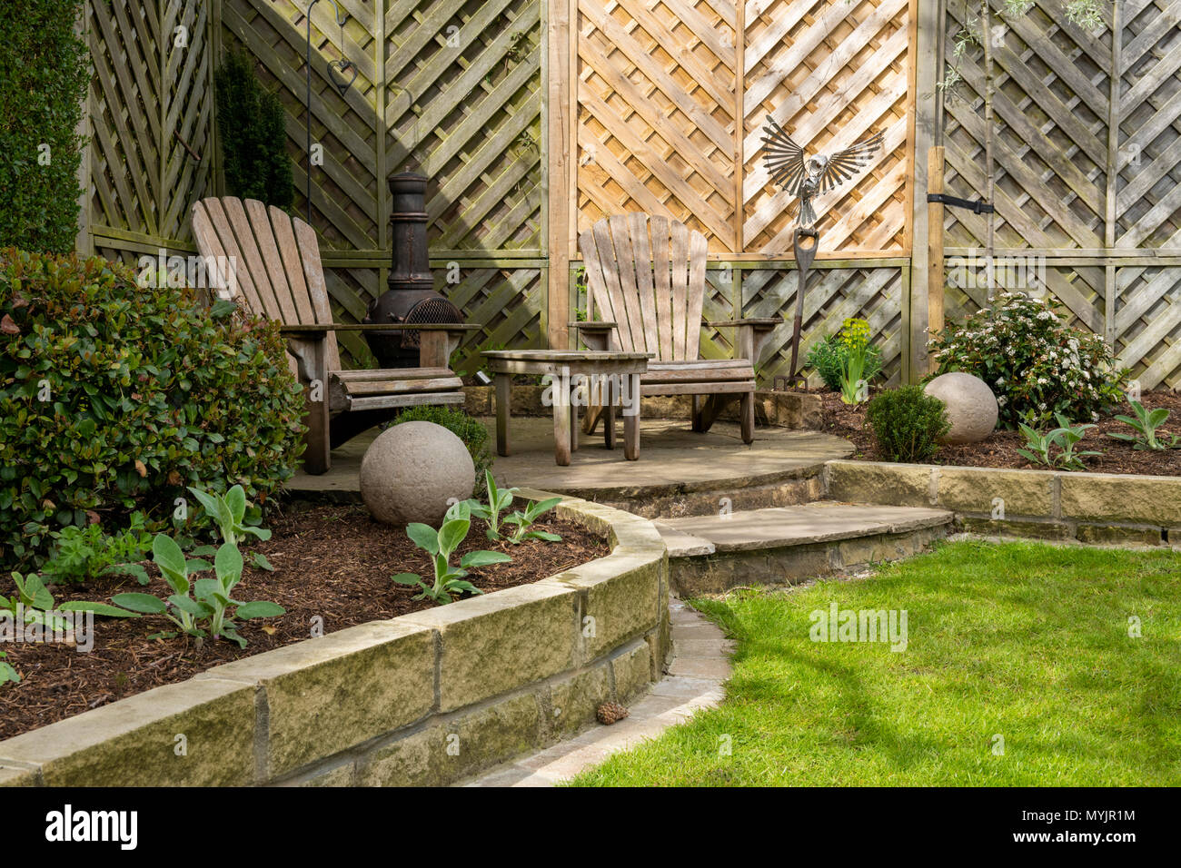 Beautiful, landscaped, private garden close-up with contemporary ...