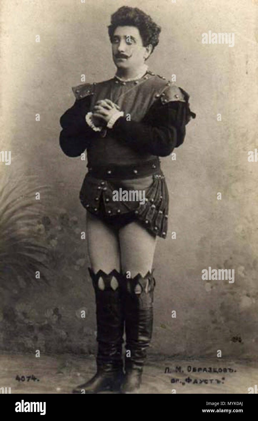 . English: Russian opera singer Lev Obraztsov (1865—1942) as Faust: the postcard . the very beginning of XX century. Unknown 322 Lev obraztsov - Stock Image