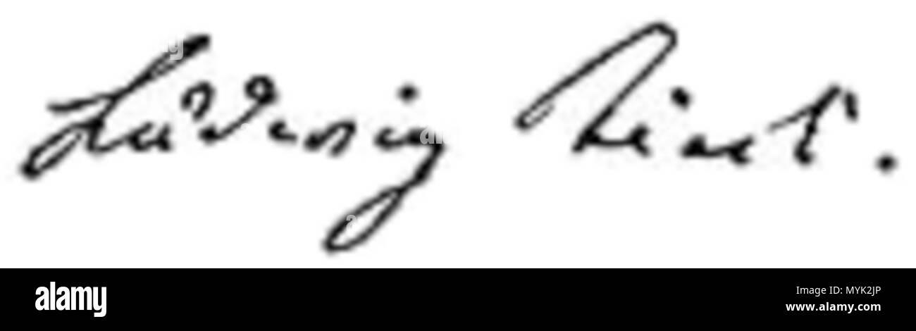 . Français: Ludwig Tieck, signature . 23 February 2016. Ludwig Tieck, signature from a letter dated April 21st, 1817 332 Ludwig Tieck signature - Stock Image