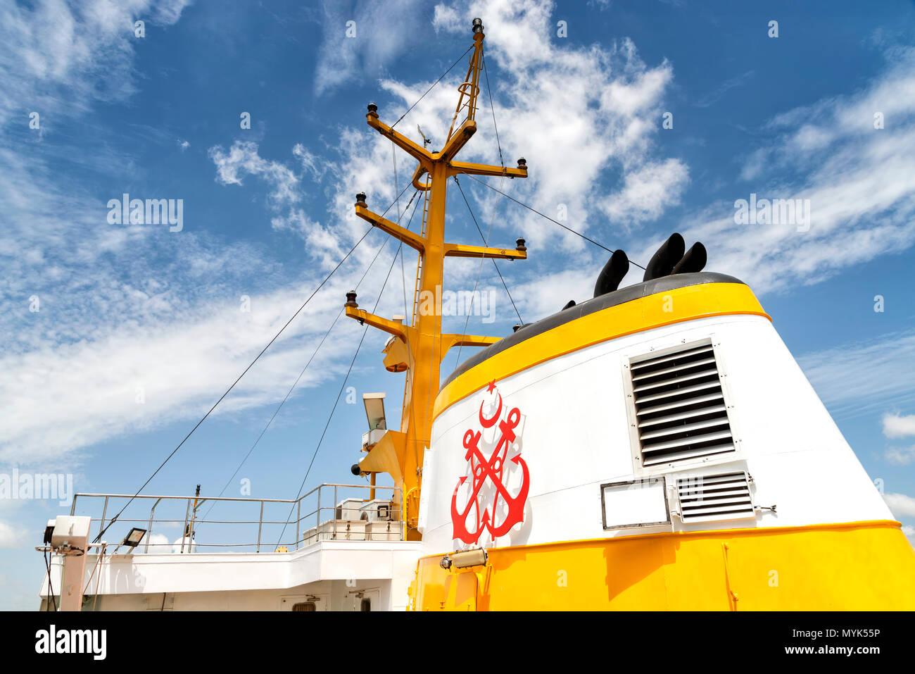 Funnel Of A Sehir Hatlari Passenger Ship, Istanbul, Turkey - Stock Image