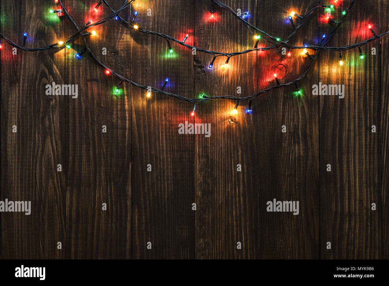Christmas Lights On Wooden Background Selective Focus