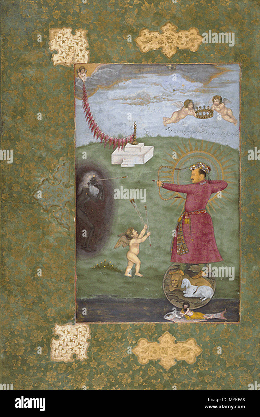 . English: Emperor Jahangir, Triumphing Over Poverty, c. 1625 . circa 1625. Unknown 377 Mughal175 Stock Photo