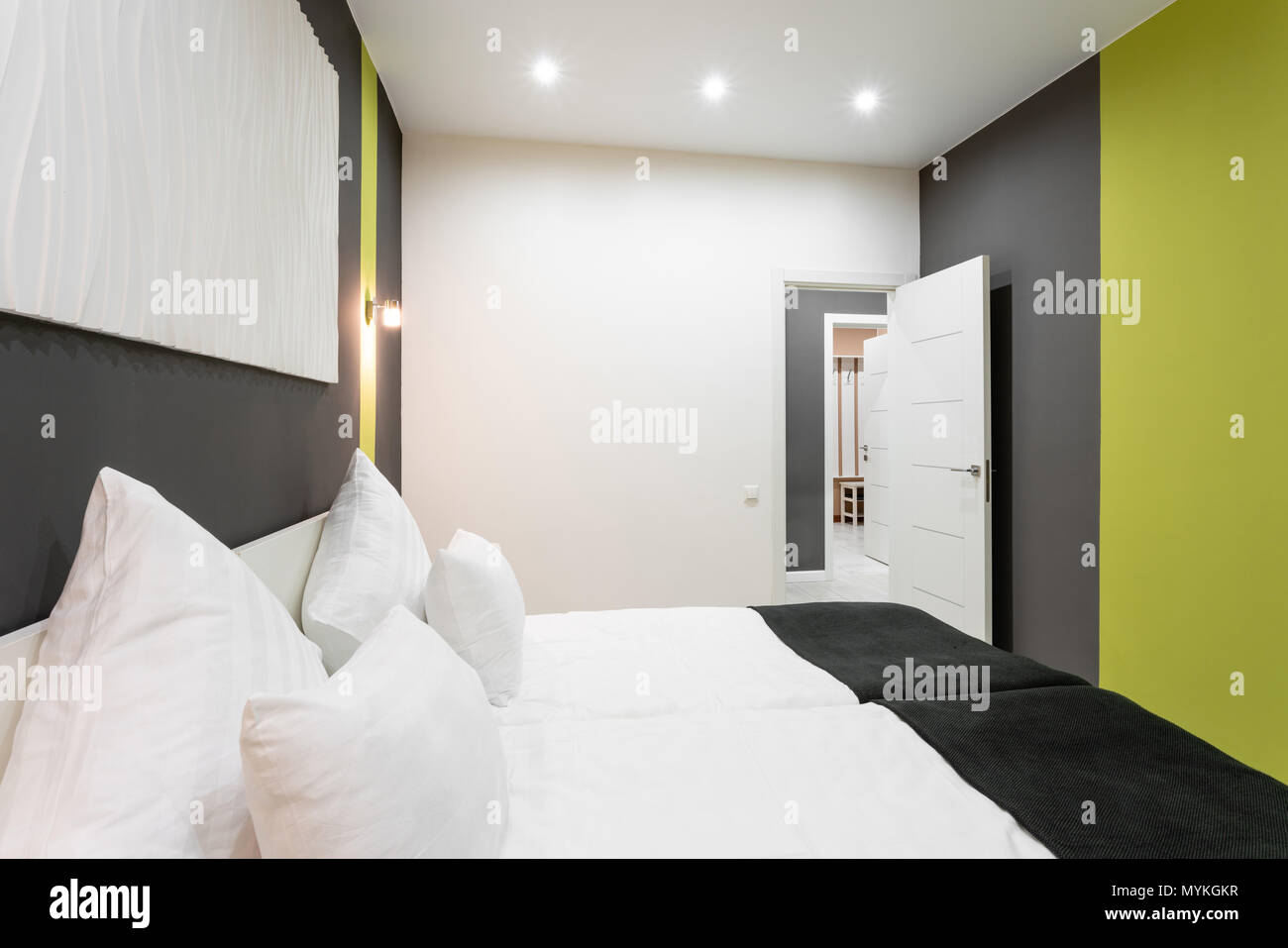 Hotel Standart Room Modern Bedroom With White Pillows Simple And Stylish Interior Interior Lighting Stock Photo Alamy