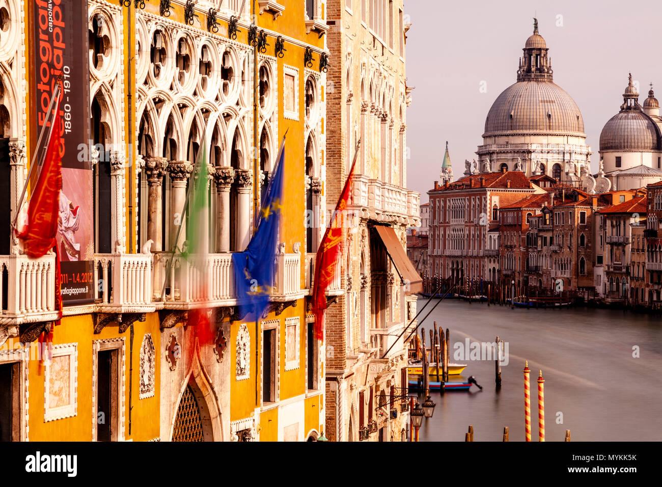 The View Down The Grand Canal Towards Santa Maria Della Salute Church From The Accademia Bridge, Venice, Italy Stock Photo