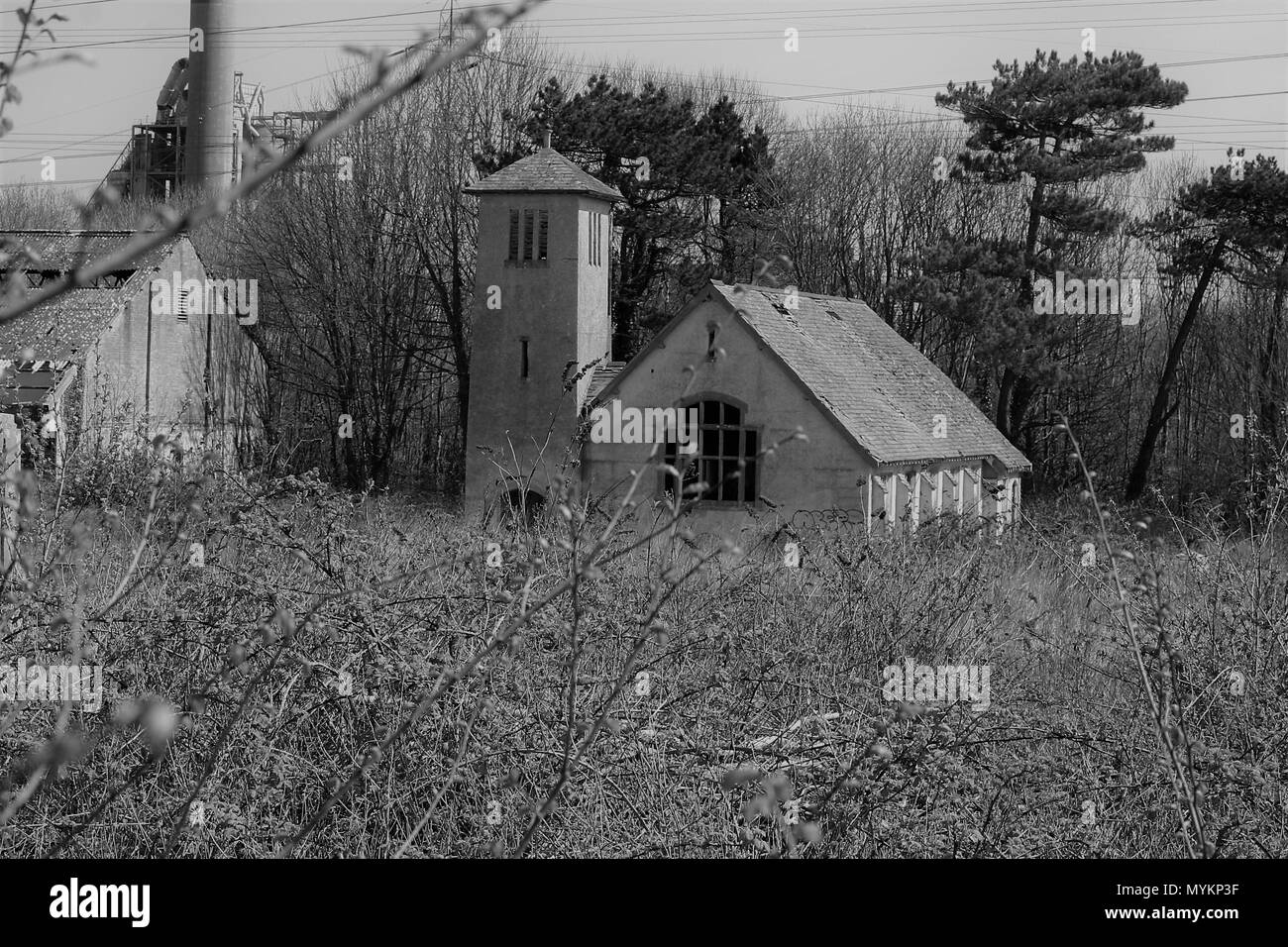 Abandoned church building, in a forgotten village south wales coast - Stock Image
