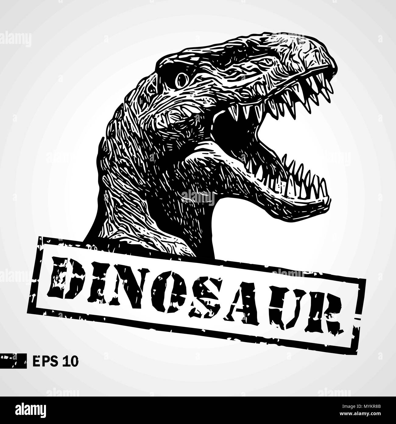 Dinosaur Head Sketch Vintage Print Poster Logotype Can Be