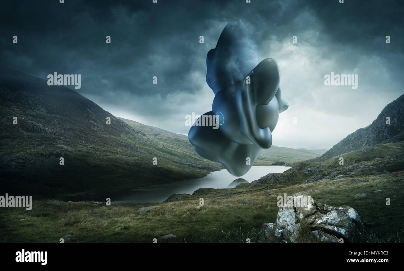 A strange and mysterious futuristic looking object hovering over a scenic mountain lake on a stormy day. Mixed media illustration. - Stock Image