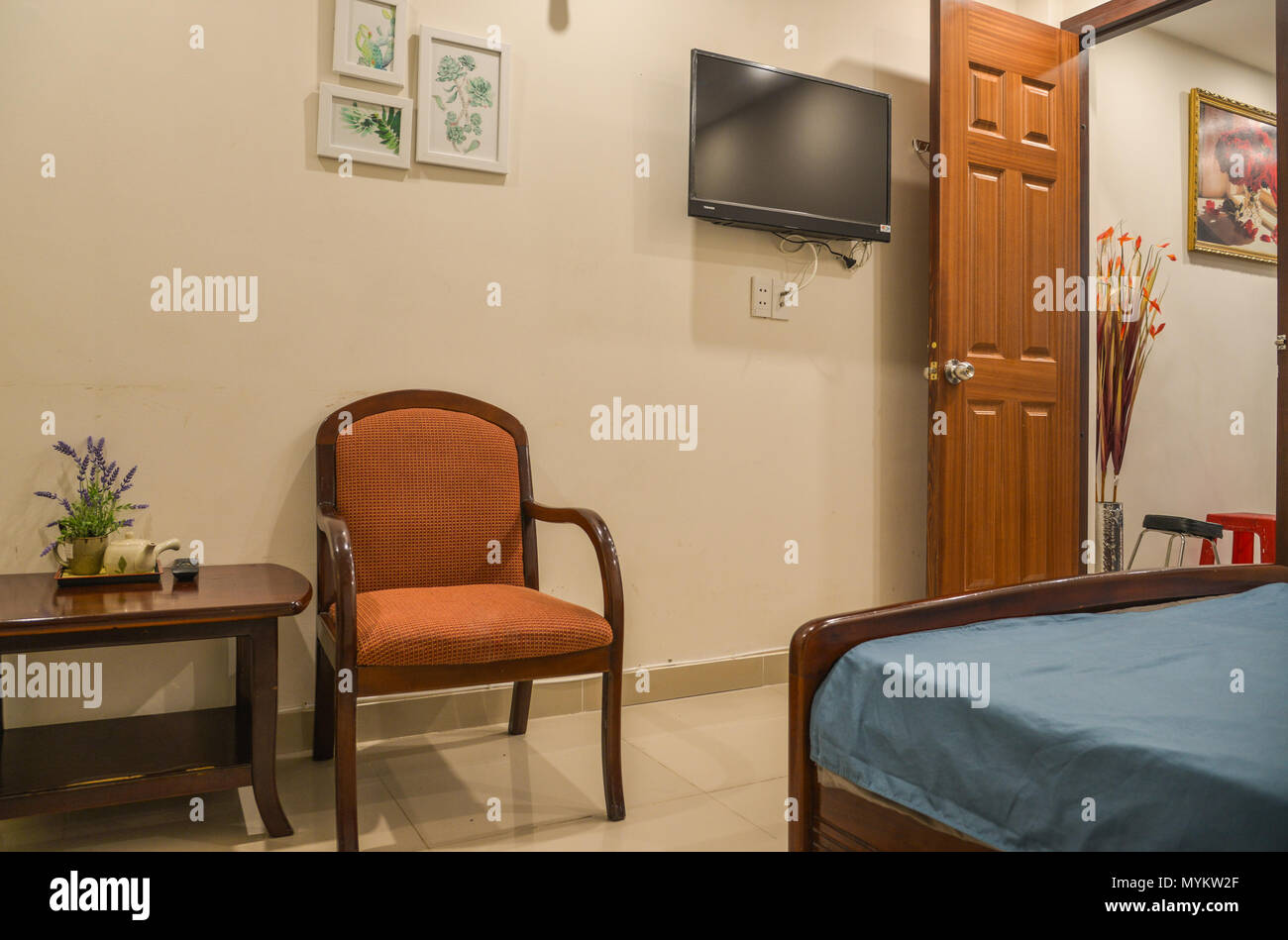 Saigon, Vietnam - May 6, 2018. Modern room of small typical house in ...