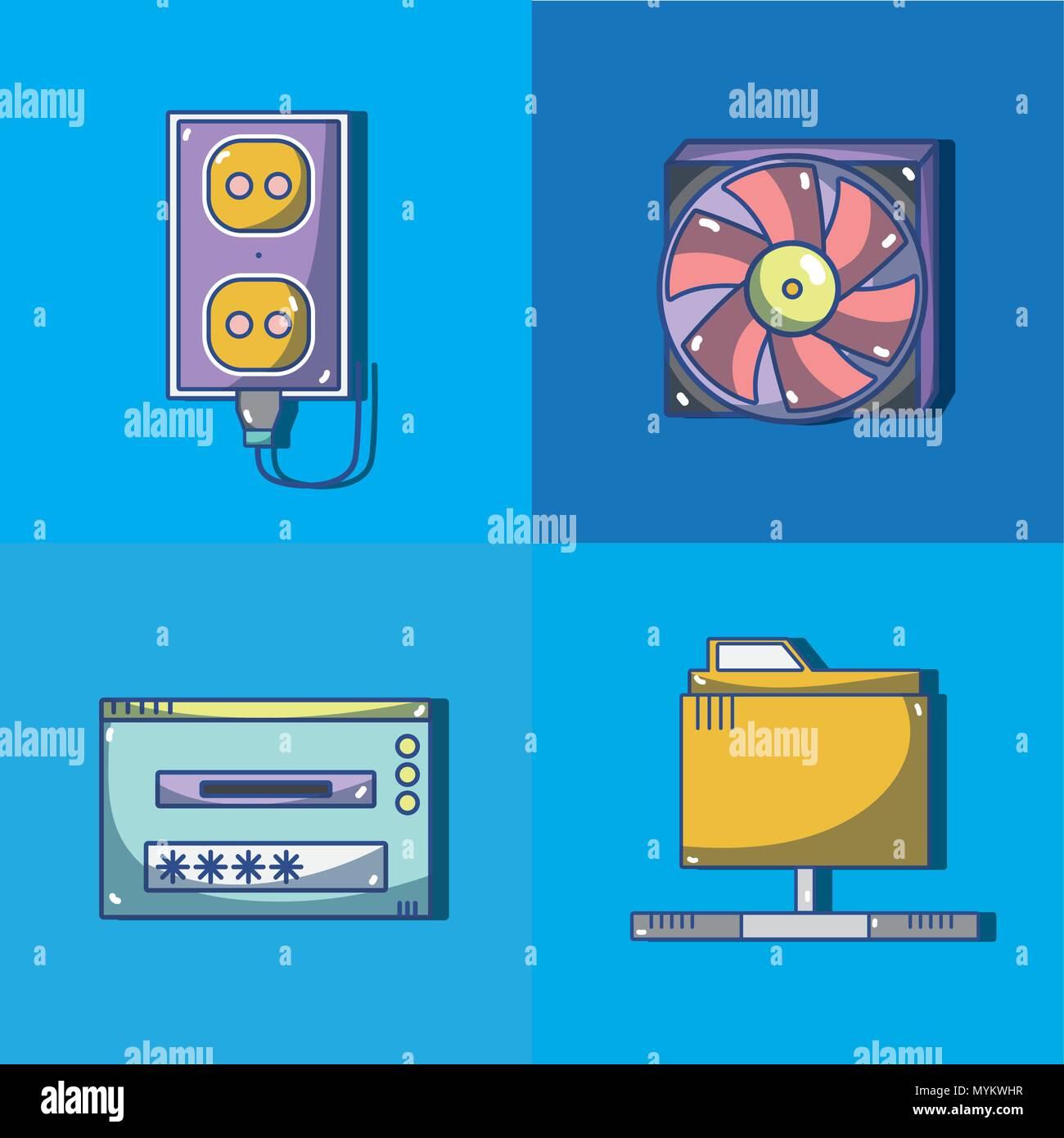 Set of computer hardware - Stock Image