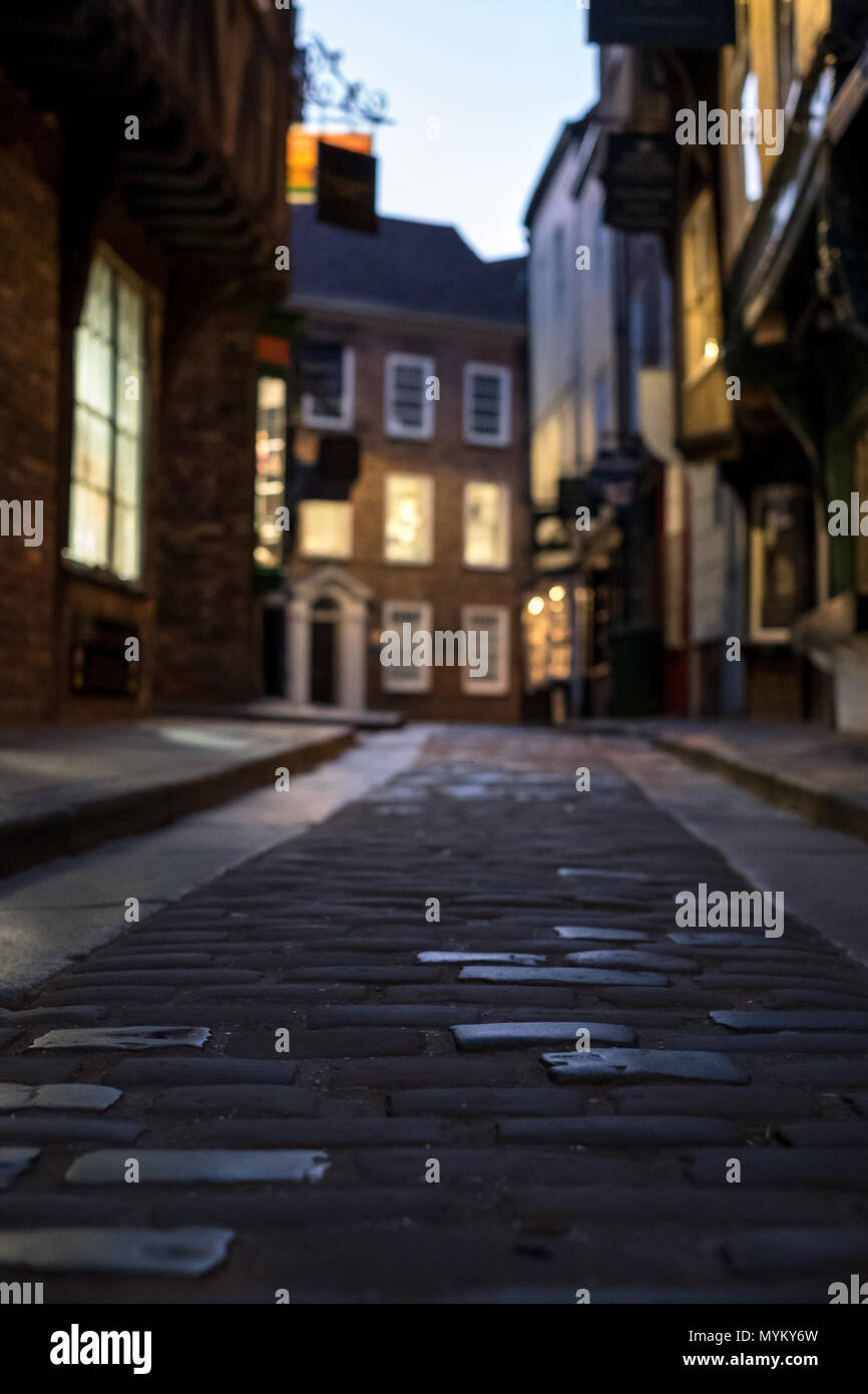The Shambles, historic street of butcher shops dating back to medieval times in York, England UK. Now one of York's main tourist attractions. Stock Photo