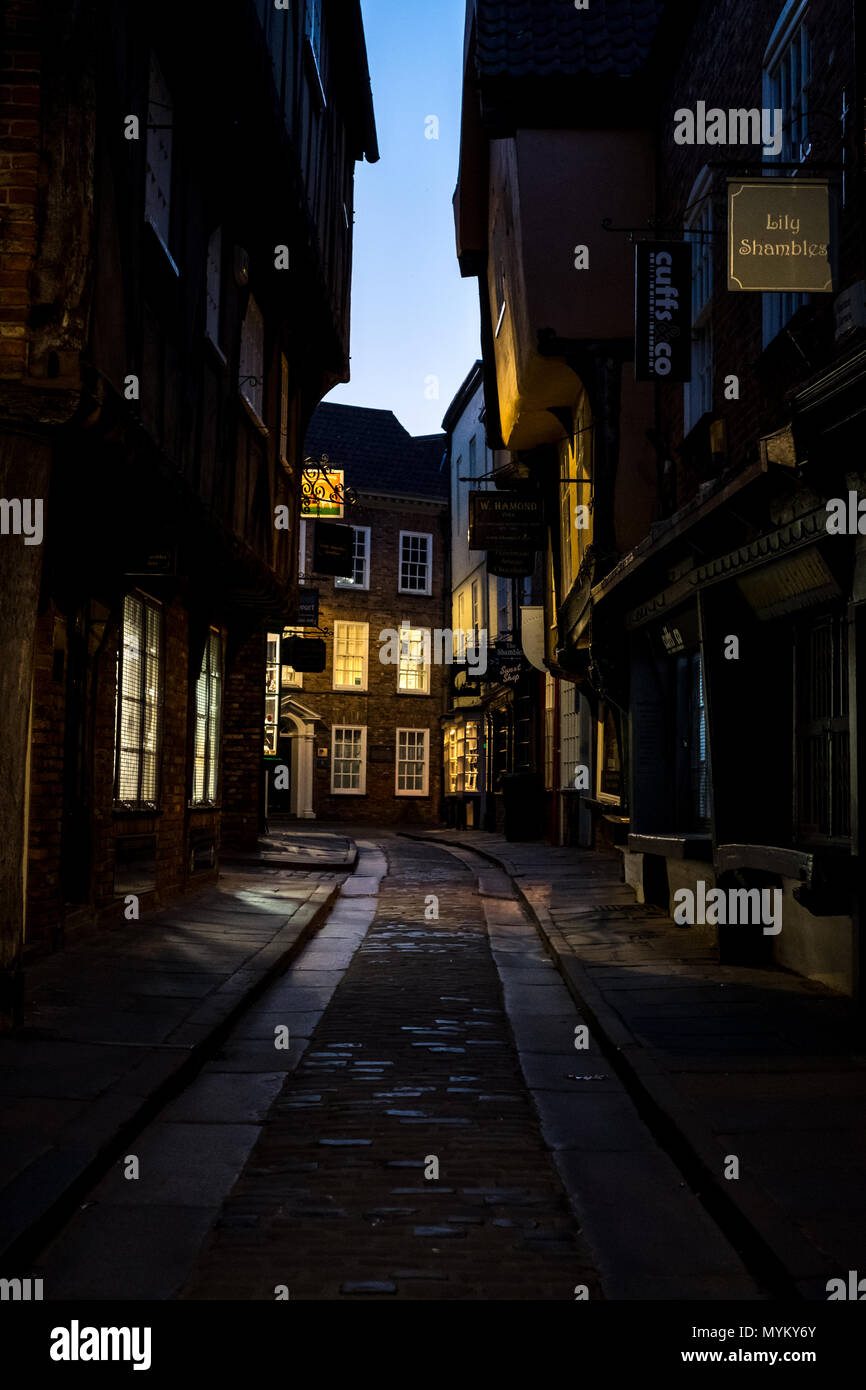 The Shambles, historic street of butcher shops dating back to medieval times in York, England UK. Now one of York's main tourist attractions. - Stock Image
