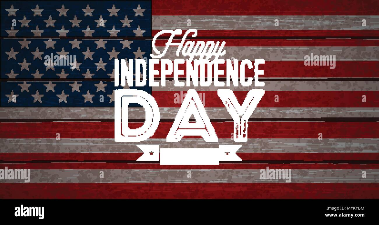 14c89e02fa1c32 ... Day of the USA Vector Illustration. Fourth of July Design with Flag on  Vintage Wood Background for Banner