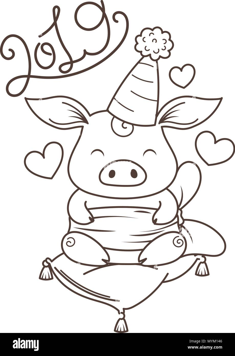 Cute cartoon pig in love symbol of new 2019 year chinese horoscope coloring