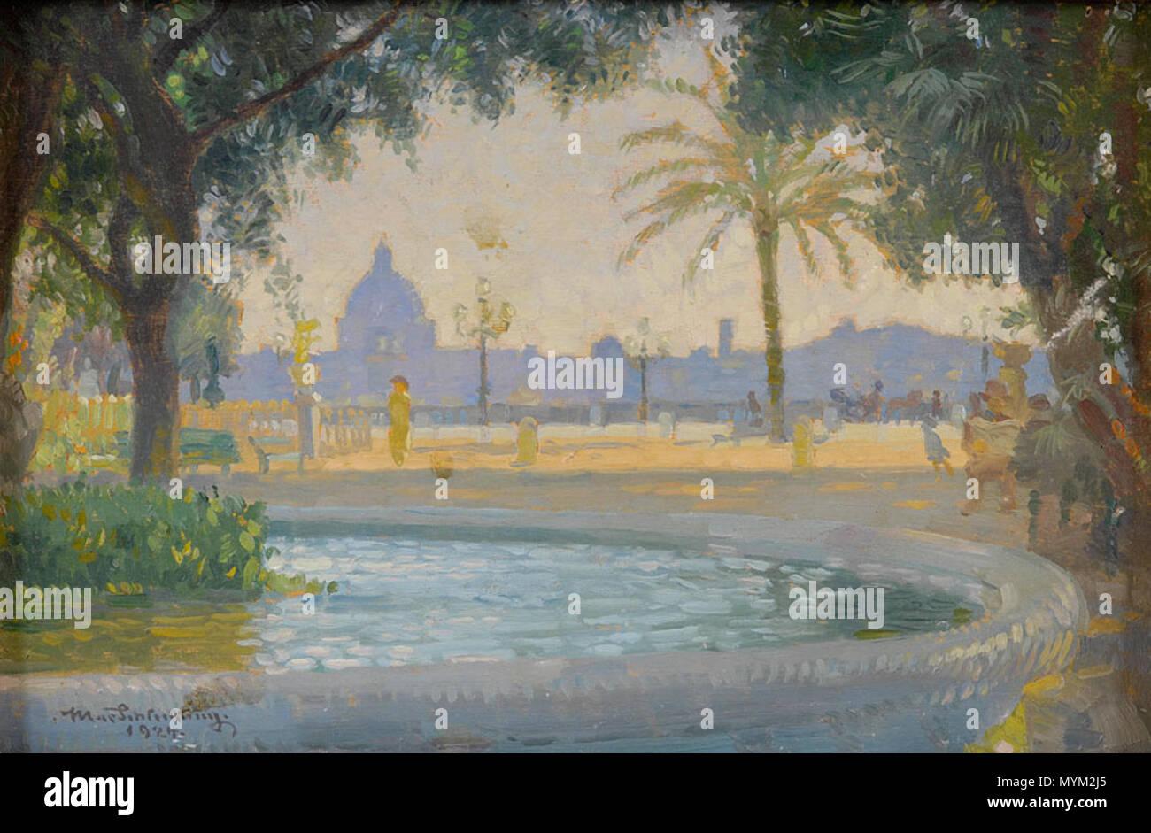 . Monte Pincio, Roma, Öl auf Holz, 15,5 x 23,5 cm . 19th/20th century. Max Schlichting (1866–1937) 356 Max Schlichting Monte Pincio - Stock Image