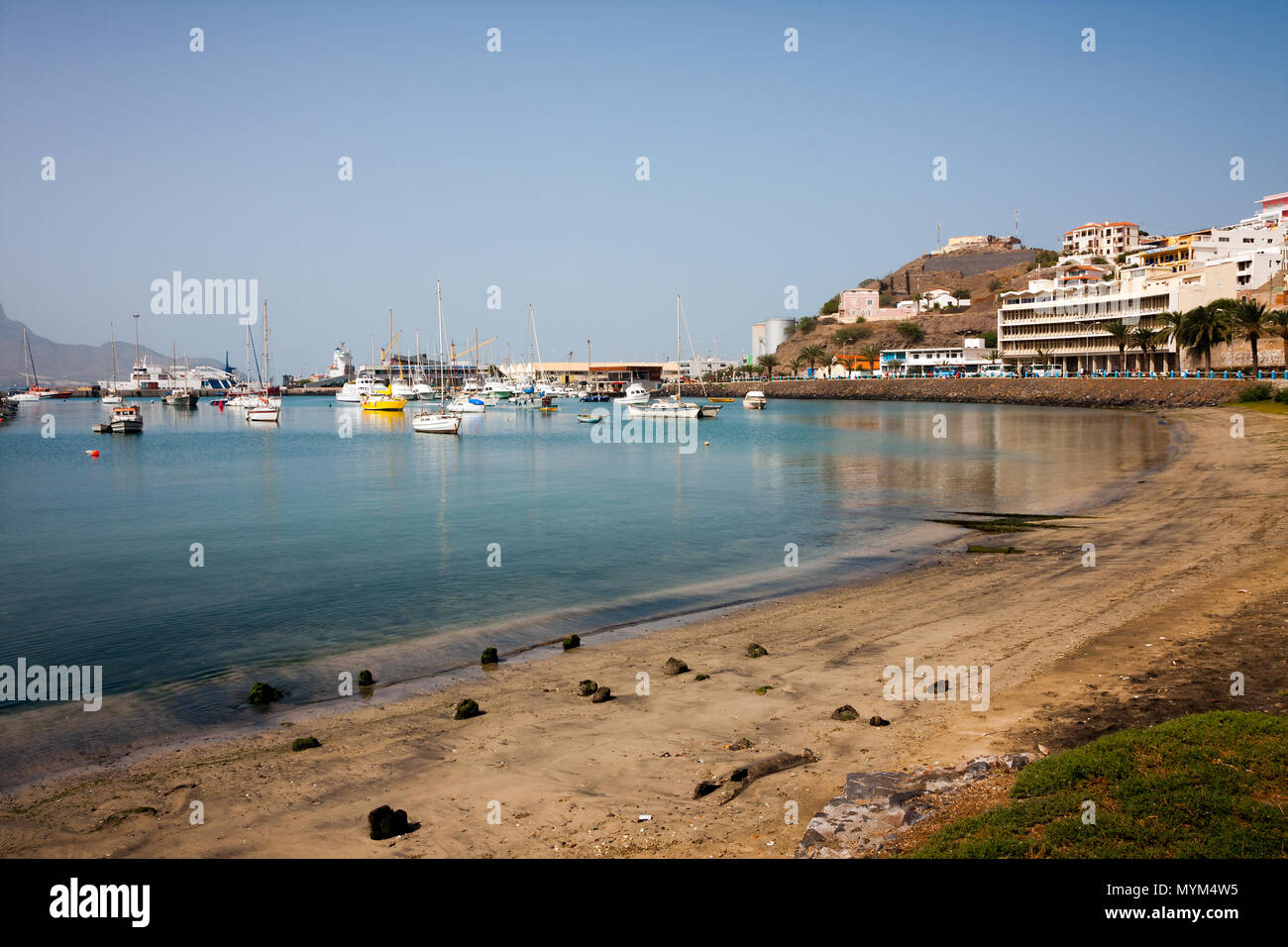 MINDELO, CAPE VERDE - DECEMBER 07, 2015: Boats and yachts in Marina of Sao Vicente island. Visible Fortim do Rei and maritime port agency AMP Stock Photo