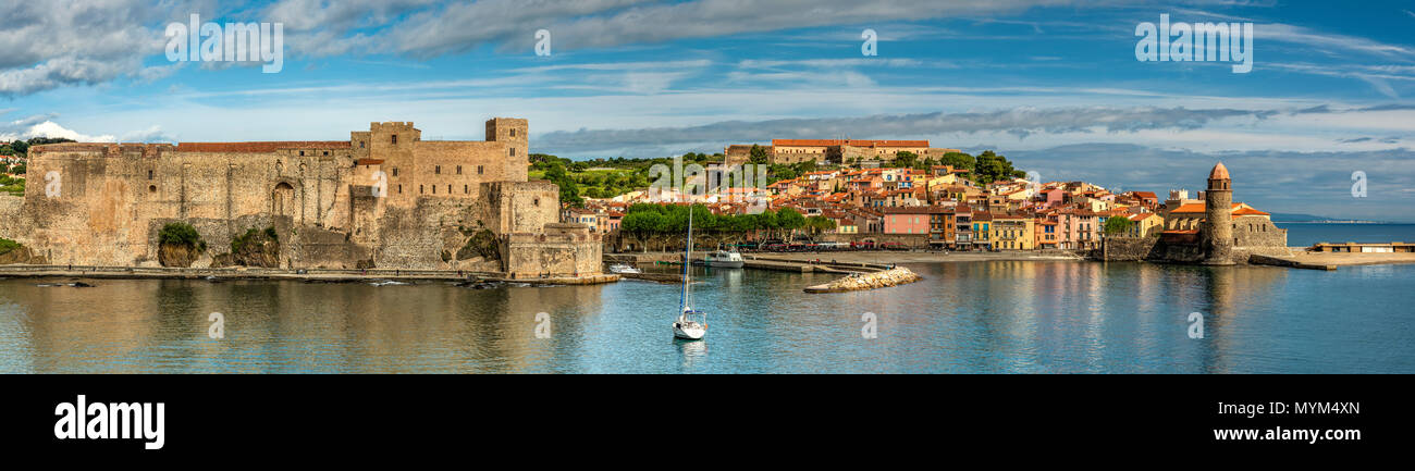 Panoramic view, Collioure, Pyrenees-Orientales, France - Stock Image