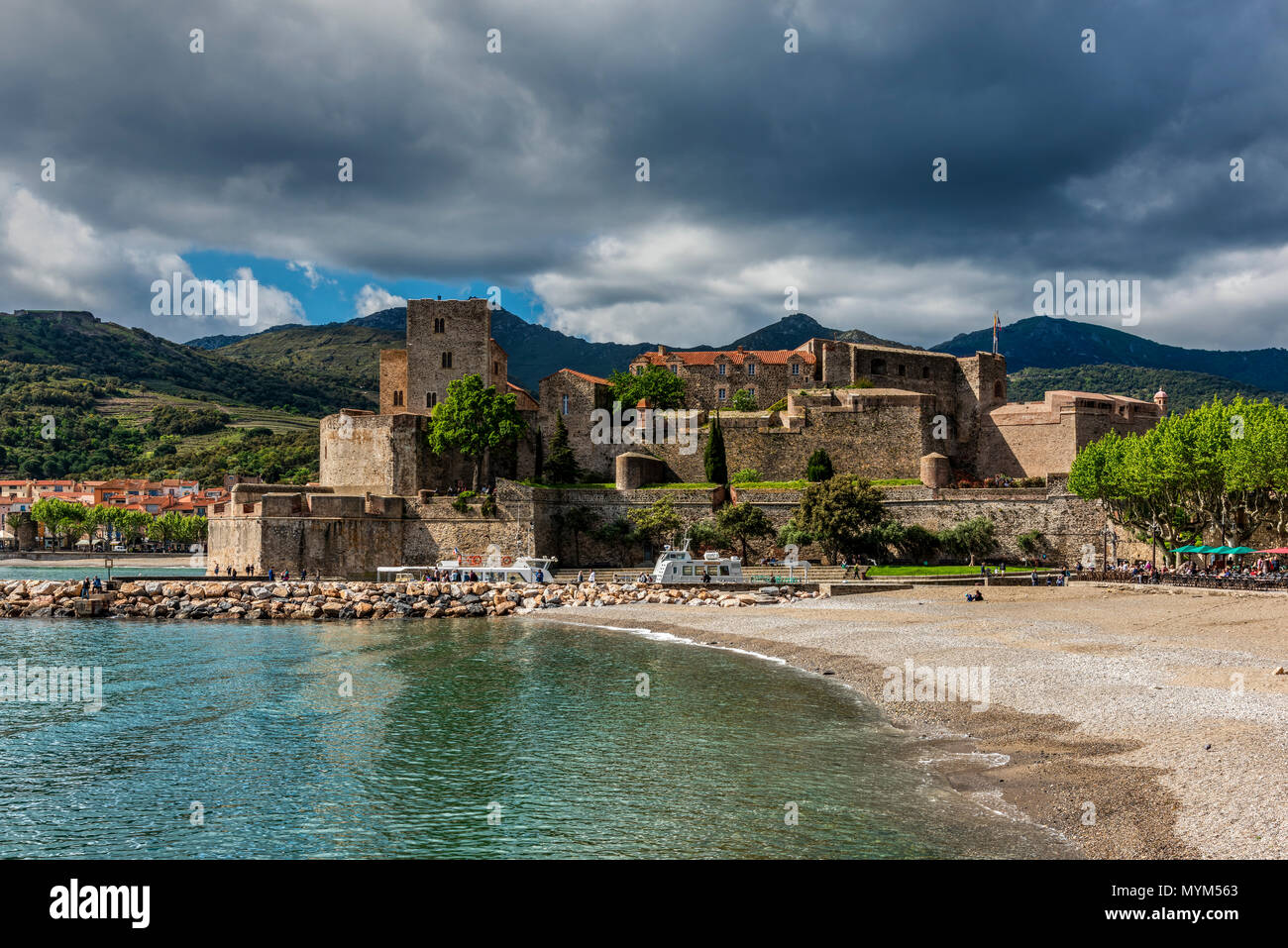 Chateau Royal, Collioure, Pyrenees-Orientales, France - Stock Image