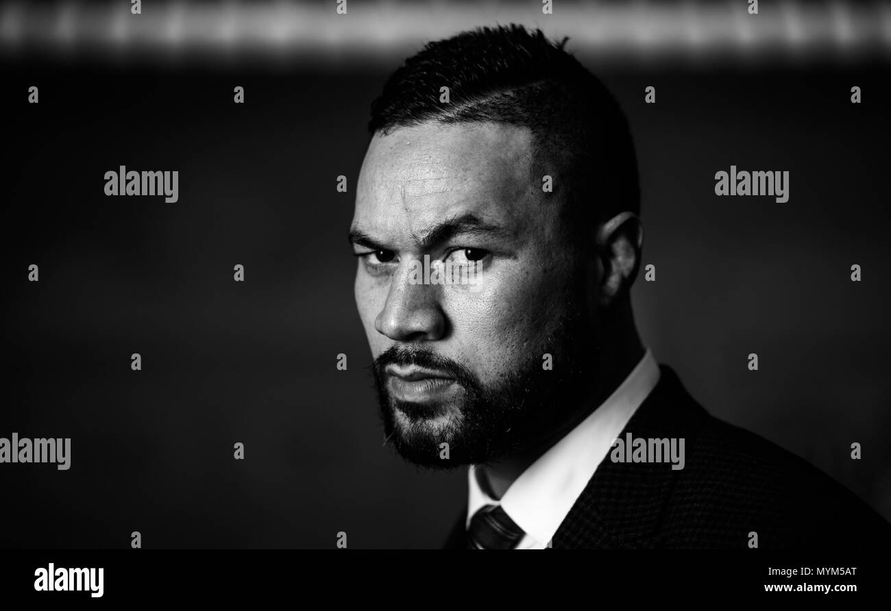 Joseph Parker during the press conference at the Dorchester Hotel, London. PRESS ASSOCIATION Photo. Picture date: Thursday June 7, 2018. Dillian Whyte and Joseph Parker will meet in a Heavyweight clash at The O2 in London on July 28. See PA story BOXING London. Photo credit should read: John Walton/PA Wire - Stock Image