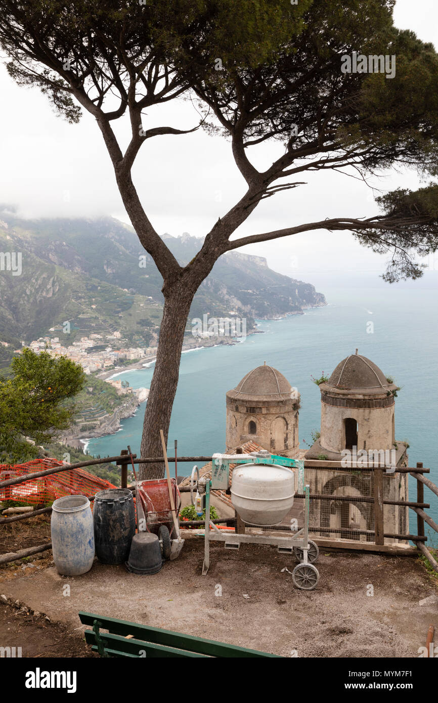 View over the Amalfi Coast from Villa Rufolo gardens with poor weather and building work in progress, Ravello, The Amalfi Coast, Campania, Italy - Stock Image