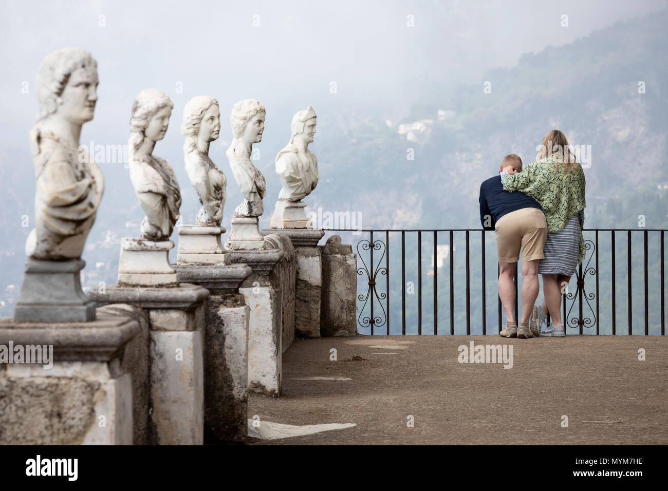 Marble busts in the formal gardens of Villa Cimbrone, Ravello, The Amalfi Coast, Campania, Italy, Europe - Stock Image