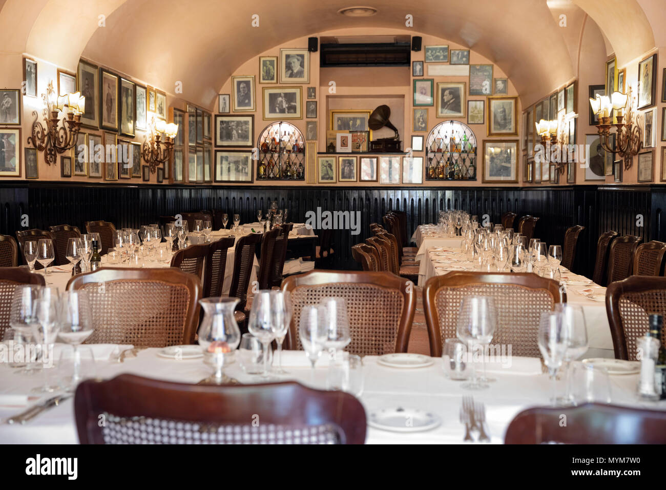 Interior of the Ristorante Museo Caruso with pictures of the famous singer on the walls, Via Sant' Antonino, Sorrento, Campania, Italy, Europe - Stock Image