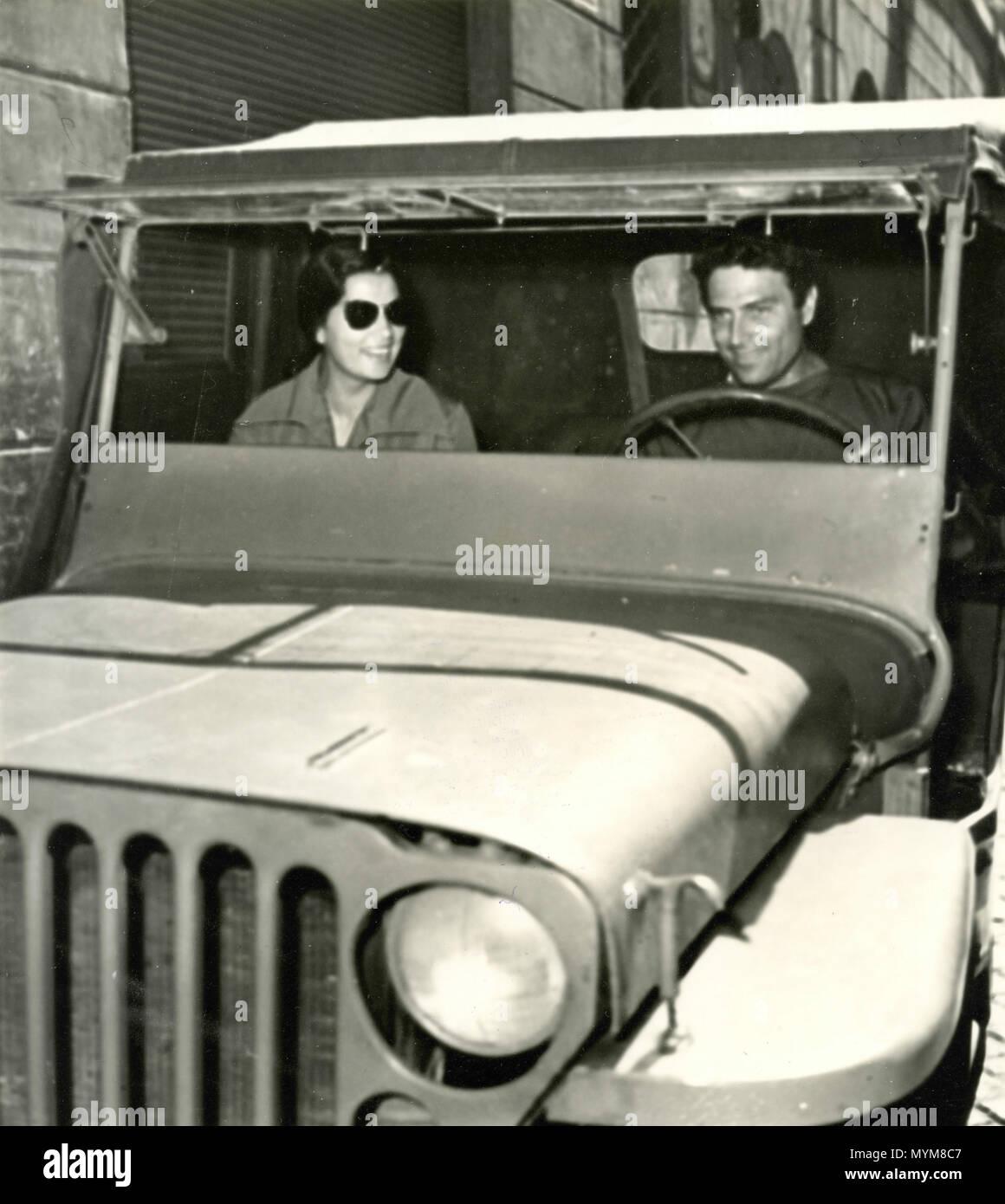 Italian actor Raf Vallone with his wife Elena Varzi, Italy 1950s - Stock Image
