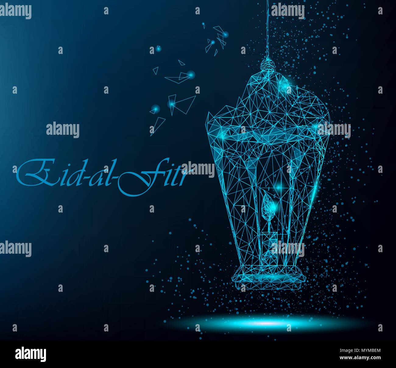 Eid al fitr beautiful greeting card with traditional arabic lantern eid al fitr beautiful greeting card with traditional arabic lantern polygonal art on blue background greeting card or invitation usable for eid mub m4hsunfo