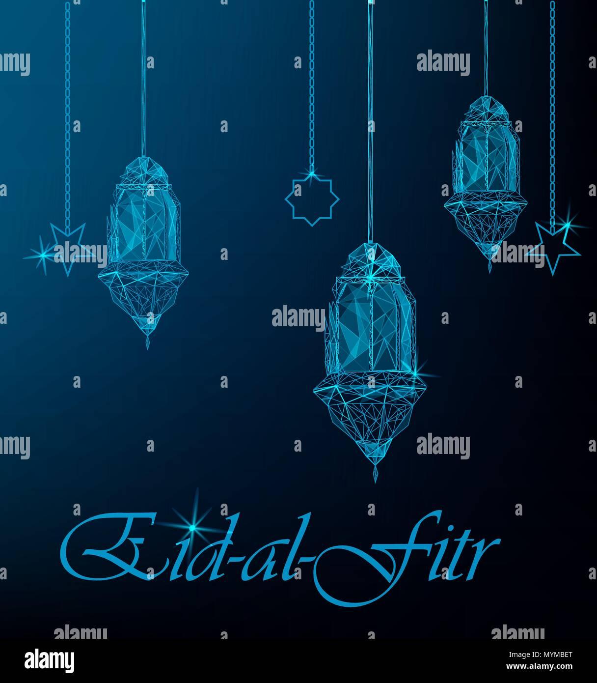 Eid Al Fitr Greeting Card With Hanging Traditional Arabic Lanterns