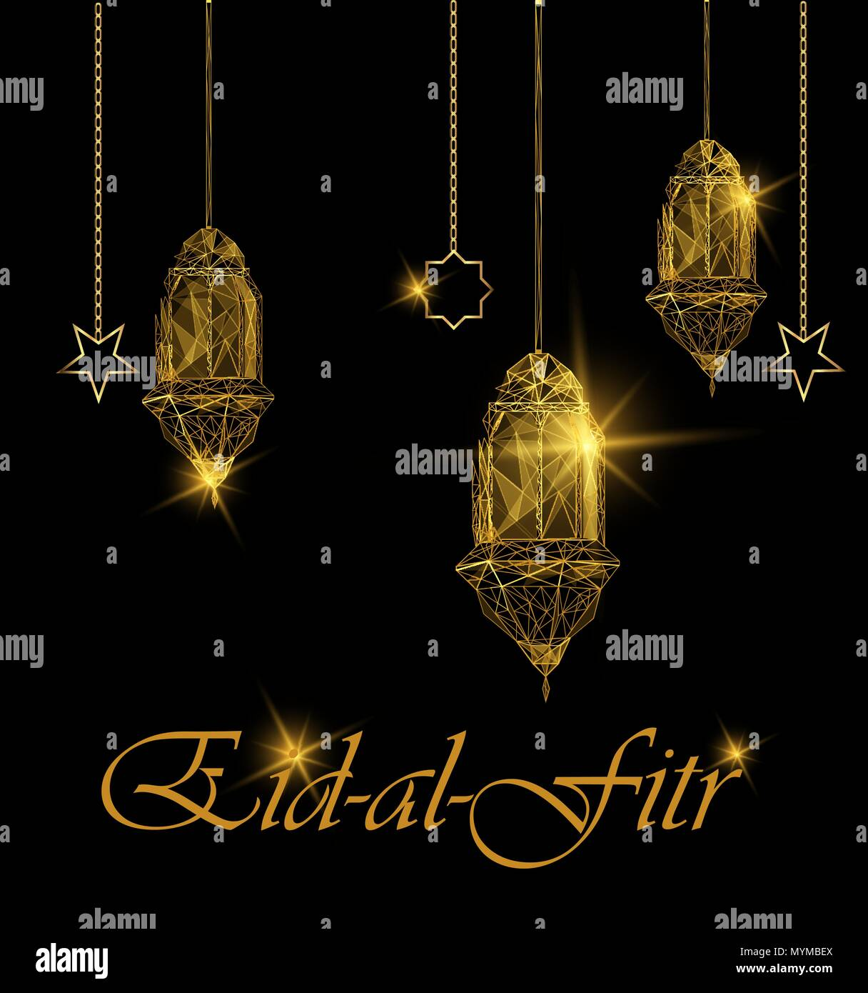 Eid al fitr bright greeting card traditional golden arabic lanterns eid al fitr bright greeting card traditional golden arabic lanterns polygonal art on blue background usable for eid mubarak stock vector illustrat m4hsunfo