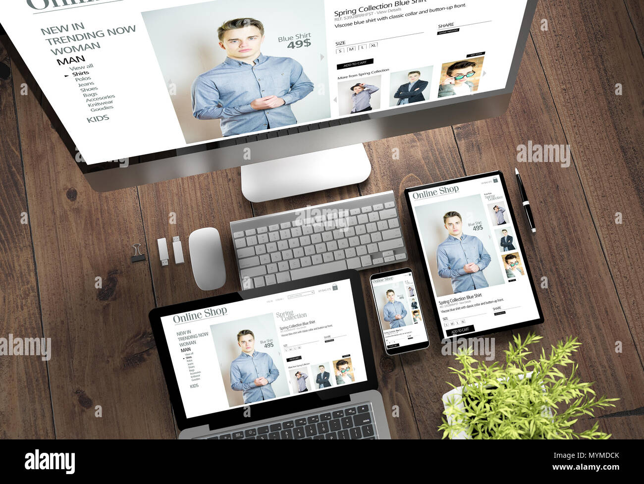 3d rendering top view of devices with online shop on screen on ...