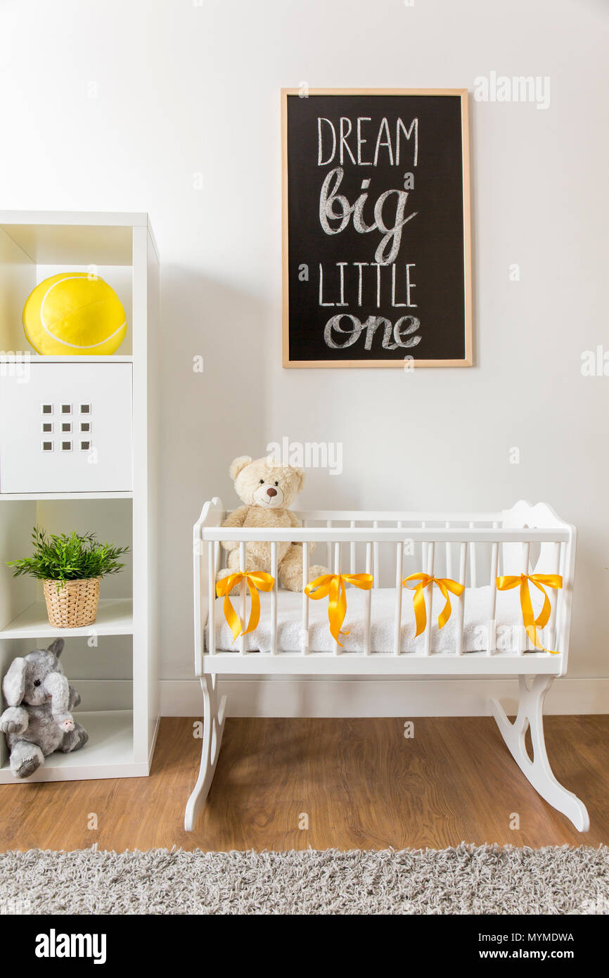 Cropped picture of a modern cozy nursery room - Stock Image