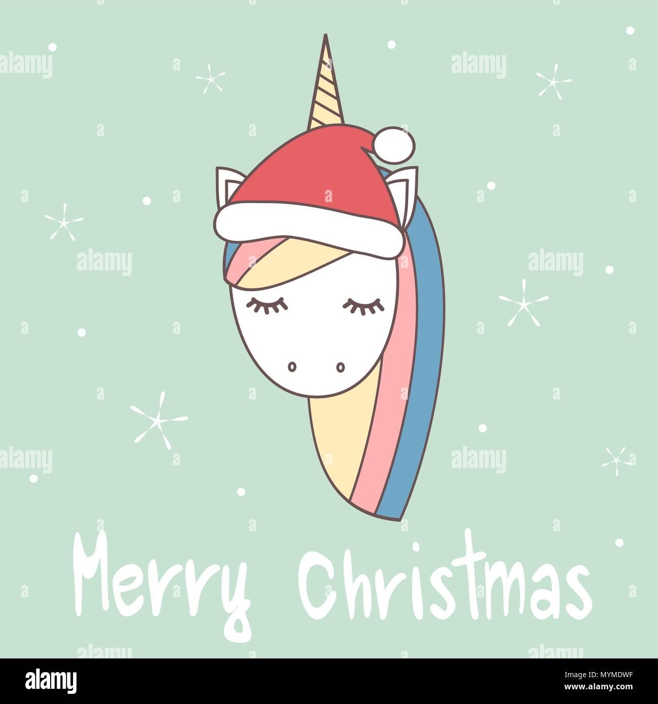 Cute Cartoon Hand Drawn Merry Christmas Vector Greeting Card With